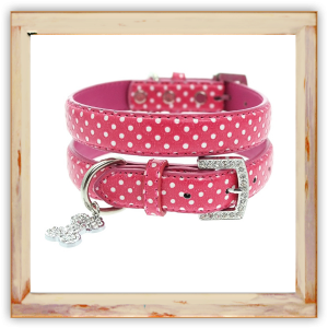 Collier Chihuahua rose pois blancs