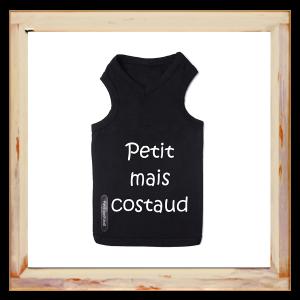 """Tshirt Chihuahua noir """" Petit mais costaud"""""""
