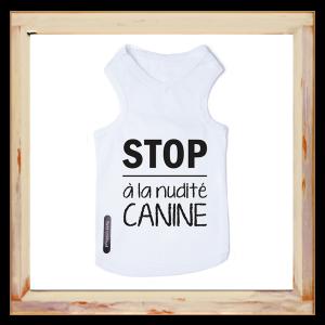 T-shirt pour chien blanc Stop à la nudité canine