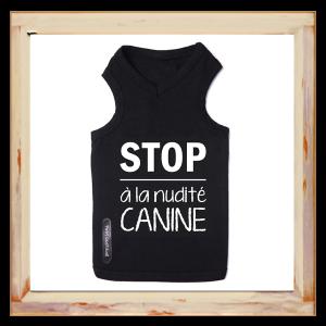 T-shirt pour chien noir Stop à la nudité canine