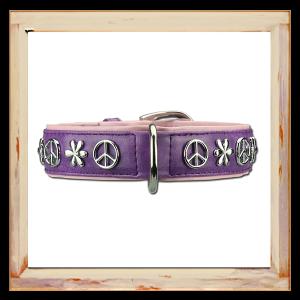 Collier pour chien Peace and Love violet